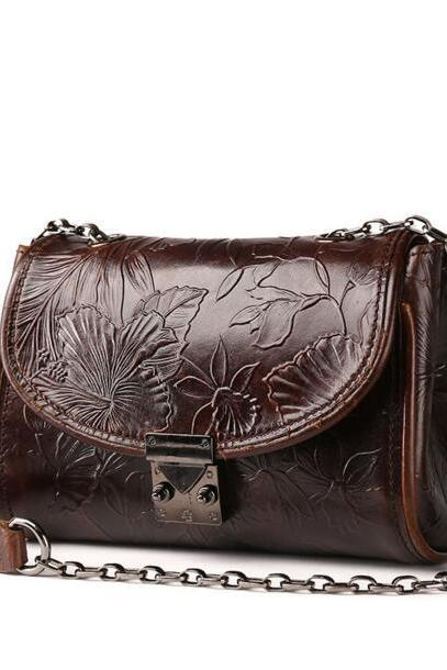 Retro Embossing Women Crossbody Bag