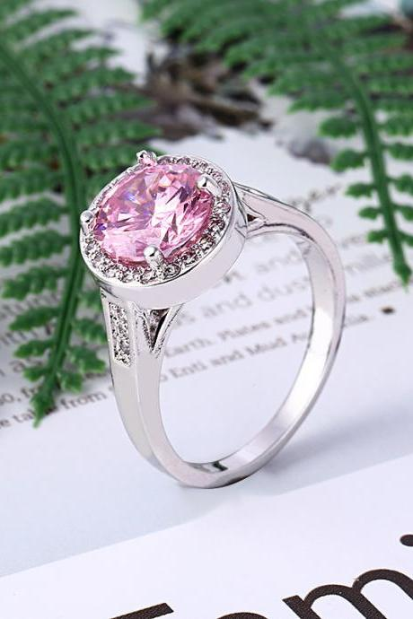 Han Edition With Artificial Pink Diamond Ring