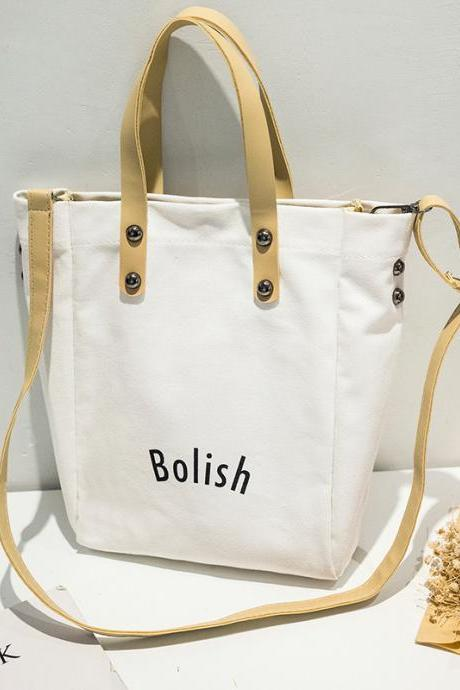 Bucket Shape Letter Pattern Canvas Shoulder Bag
