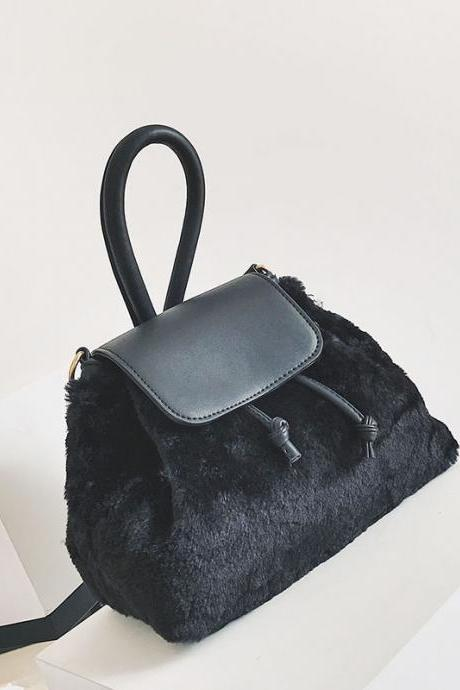 Color Block Soft Plush Crossbody Bag