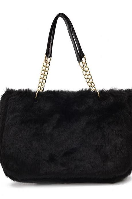 Fashion Plush Zipper Women Shoulder Bag