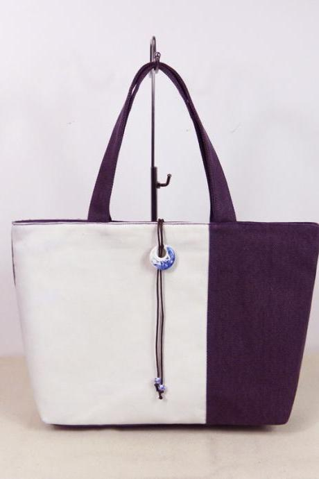 Contrast Color Splicing Tote Bag