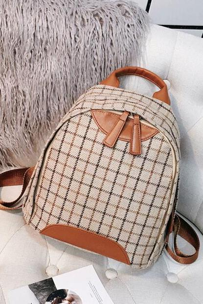 Casual Colorful Plaid Women Backpack