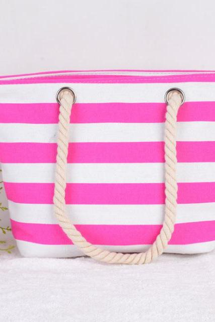 Stripes Canvas Tote Bag with Rope Handles