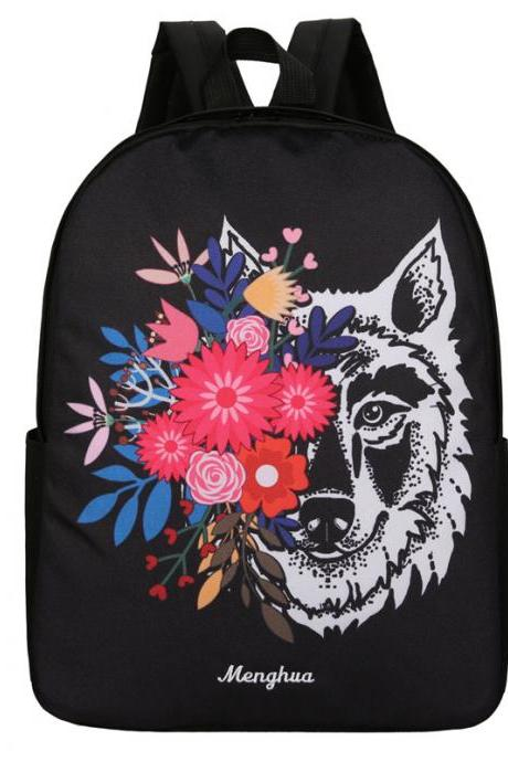 Individual Wolf Pattern Contrast Color Backpack