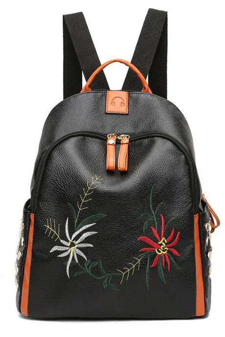 Stylish Embroidery Zipper Backpack