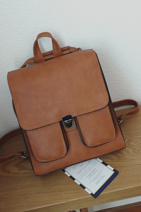 Vintage Solid Color Women Backpack