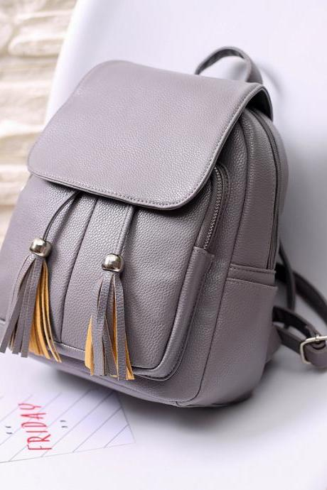 Versatile Covered Type Double Tassel Backpack