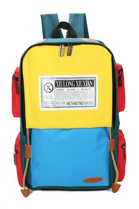 Preppy Chic Color Block Zipper School Backpack