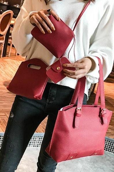 Concise Solid Color Women Bag Set