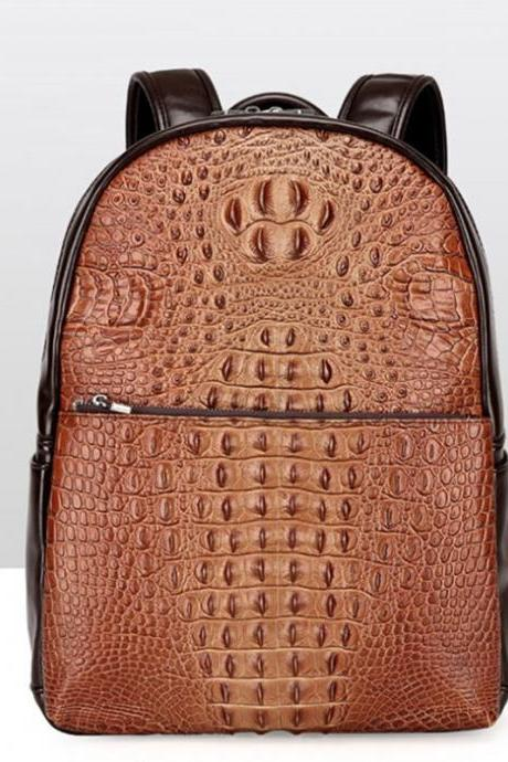 Retro Alligator Pattern Men's Backpack