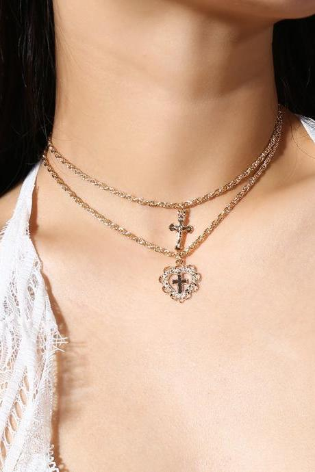 Fashion Simple Hearts Cross Pendant Necklace