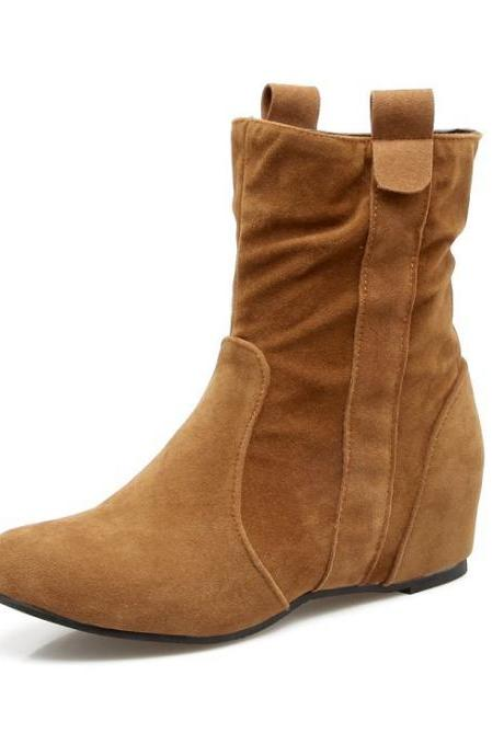 Suede Slope Heel Pure Color Round Toe Inside Heels Ankle Boots