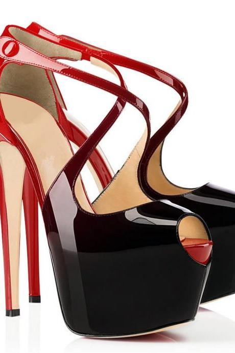 Gradient Color Super High Stiletto Heel Peep-toe Platform Sandals