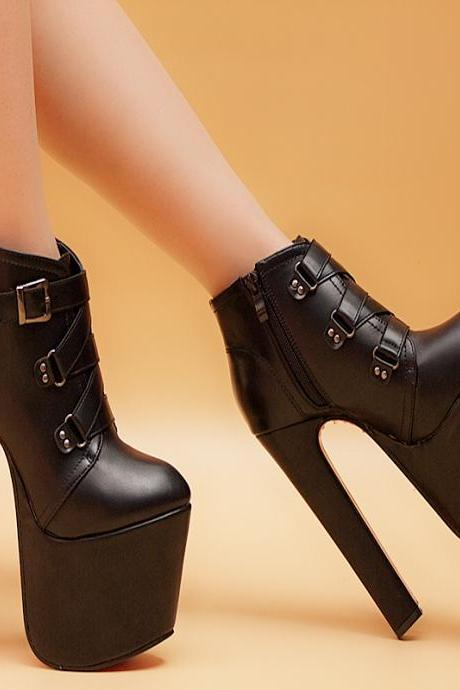 Side Zipper Lace Up Super High Heel Ankle Martin Boots