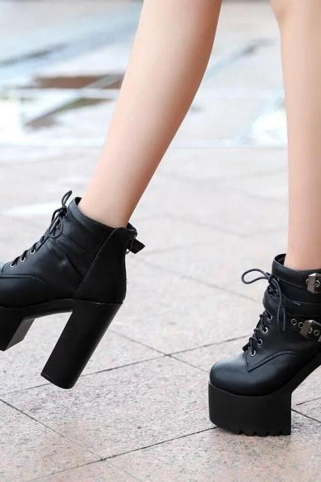 Lace-up Chunky Heel Platform Super High Heels Ankle Martin Boots