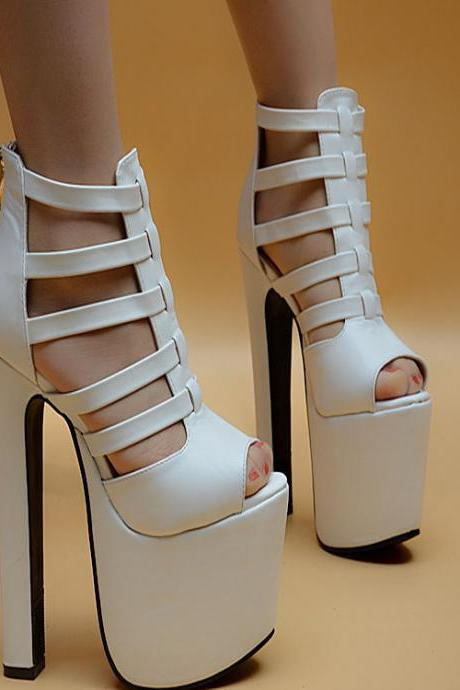 Hollow Out Peep Toe Platform Super HIgh Stiletto Heels Sandals