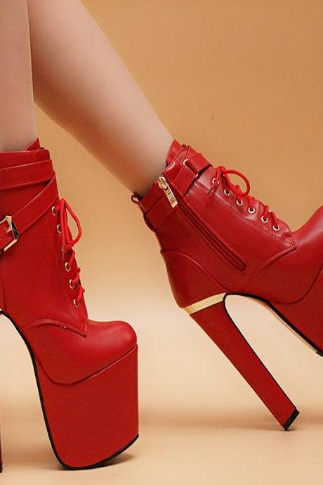 Lace-up Super High Stiletto Heel Platform Party Shoes Ankle Boots