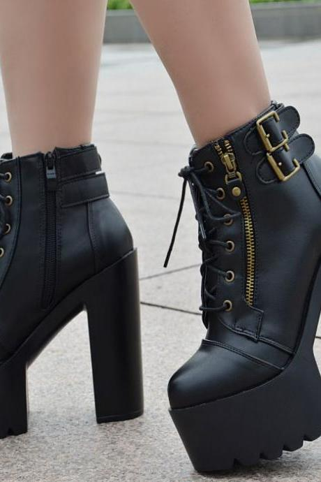 Lace Up Zipper Platform Super High Heels Ankle Boots