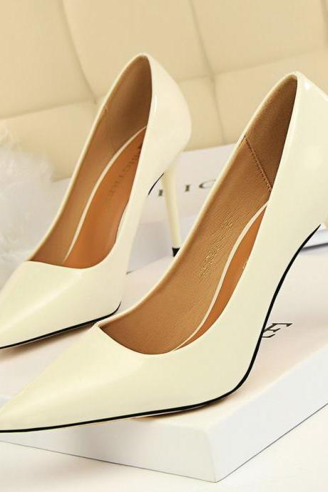 Patent Leather Pointed-Toe High Heel Stilettos
