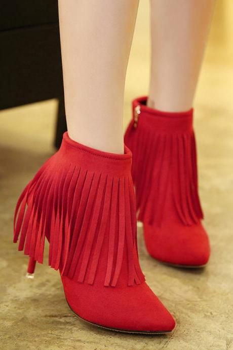Tassels Suede Stiletto Heel Pointed Toe Zipper Ankle Boots