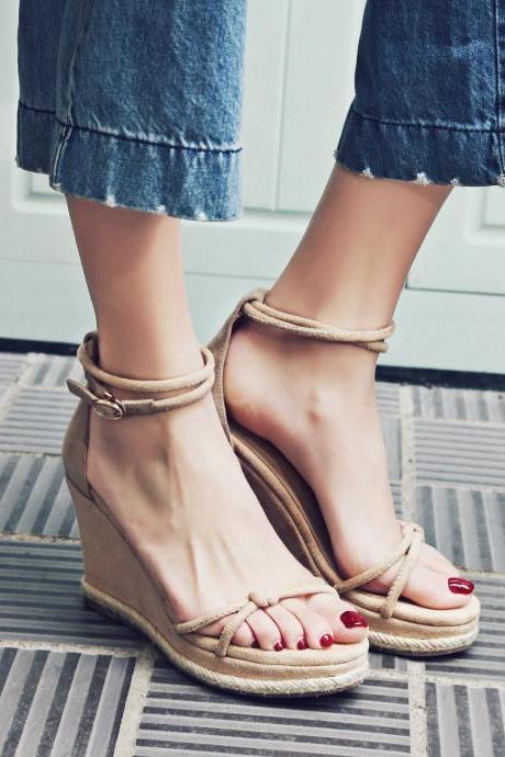 Waves Simple Style Ankle Wrap Platform Wedge High Heel Sandals