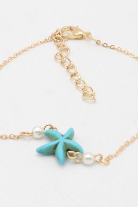 Turquoise Starfish Pearl Simple Anklets