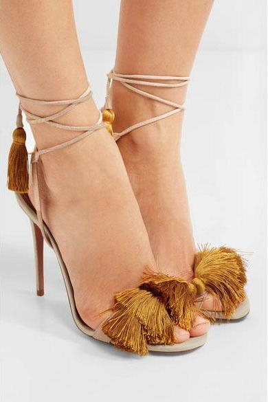 Tassels Patchwork Stiletto Heel Peep-toe Straps High Heel Sandals