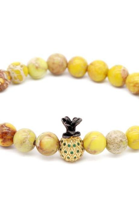 Pineapple Microinlaid With Zircon Lovers Bracelet