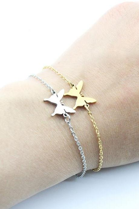 Stainless Steel Micro - plated Butterfly Bracelet