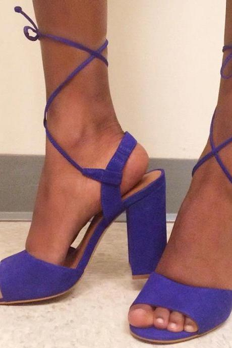 Faux Blue Suede Lace-Up Block Heel Sandals