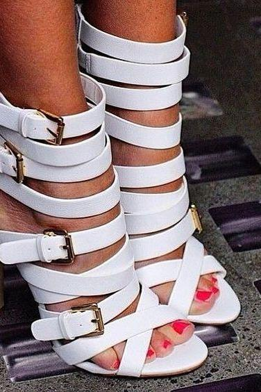Straps Hasp Open Toe Back Zipper White High Heel Party Sandals