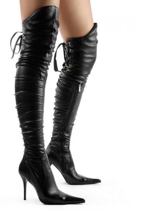 Pointed Toe Back Lace UP Over the Knee Irregular Long Boots