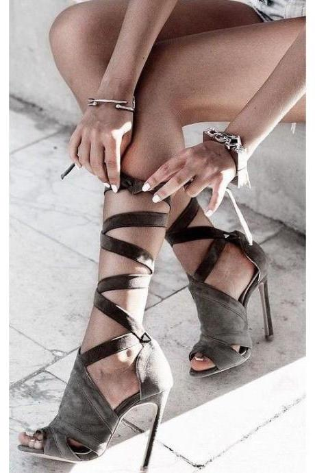 Cut Out Peep Toe Strap Cross Stiletto High Heel Sandals
