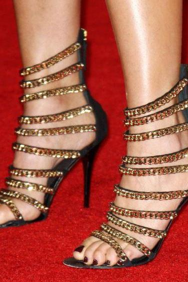 Golden Chain Straps Open Toe Stiletto High Heel Sandals