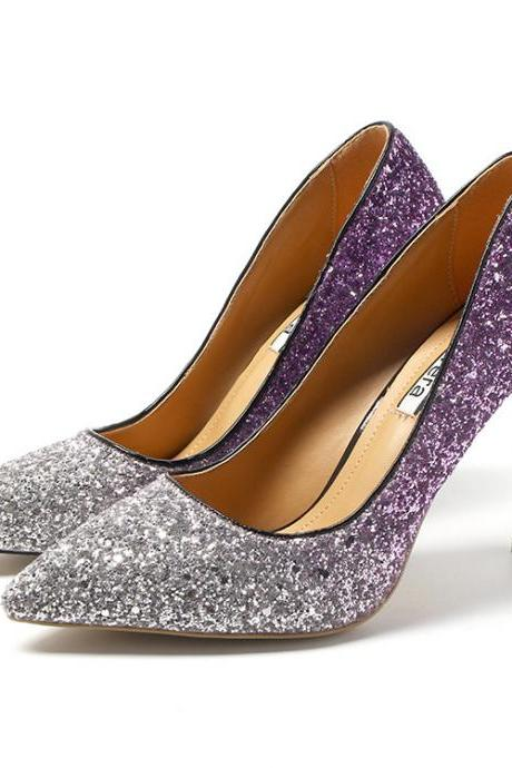 Gradient Color Shinning Sequins Pointed Toe Stiletto High Heels Party Shoes