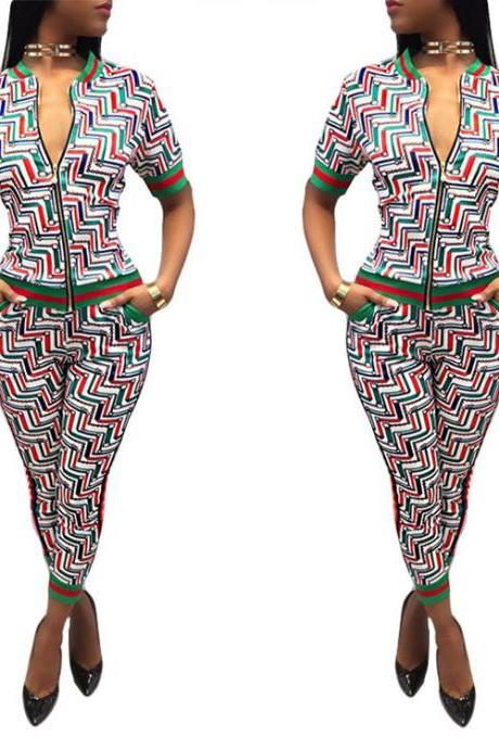 Print Front Zipper Blouse High Waist 9/10 Pencil Pants Two Pieces Set