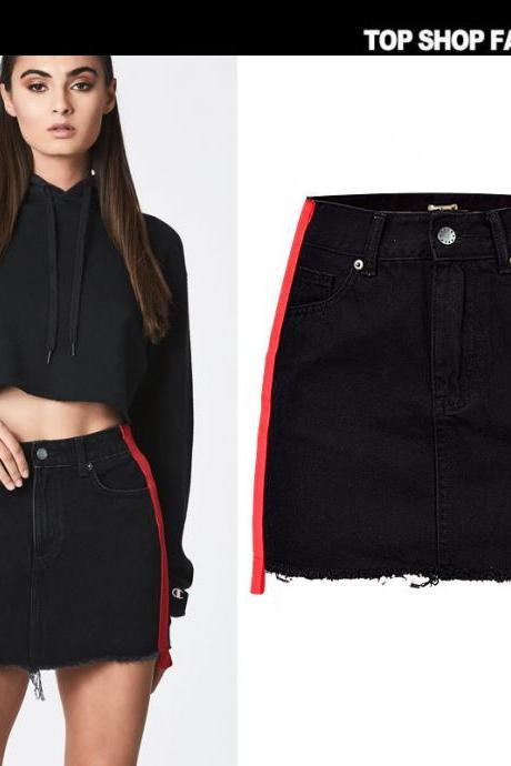 Zipper High Waist Packets Patchwork Slim Short Denim Skirt