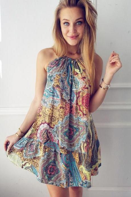 Bohemian Bear Shoulder Spaghetti Straps Sleeveless Print Short Dress