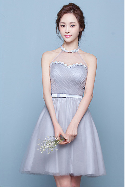 Halter Bear Shoulder Tulle Pleated High Waist Short Party Bridesmaid Dress