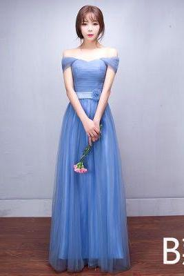 Off Shoulder Pleated Empire High Waist Long Tulle Bridesmaid Party Dress