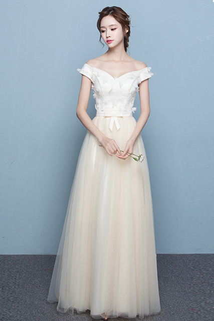 Off Shoulder Flowers Tulle Long Pleated Prom Party Bridesmaid Dress