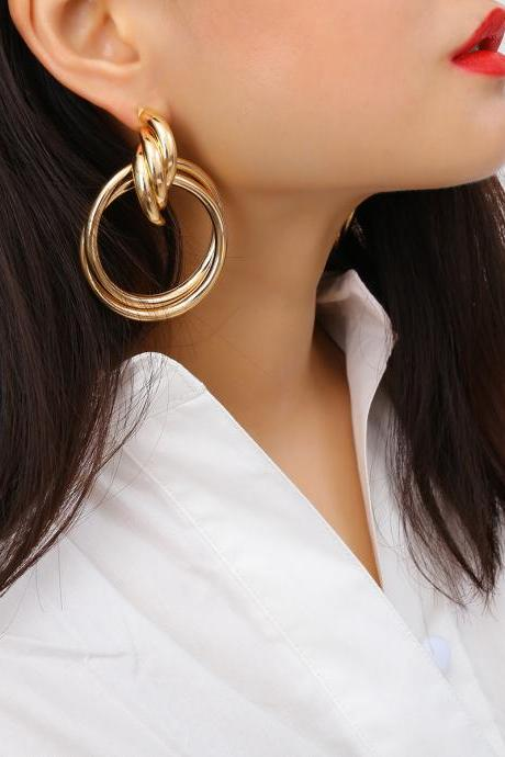 Exaggerated Hoop With Hollow Earrings