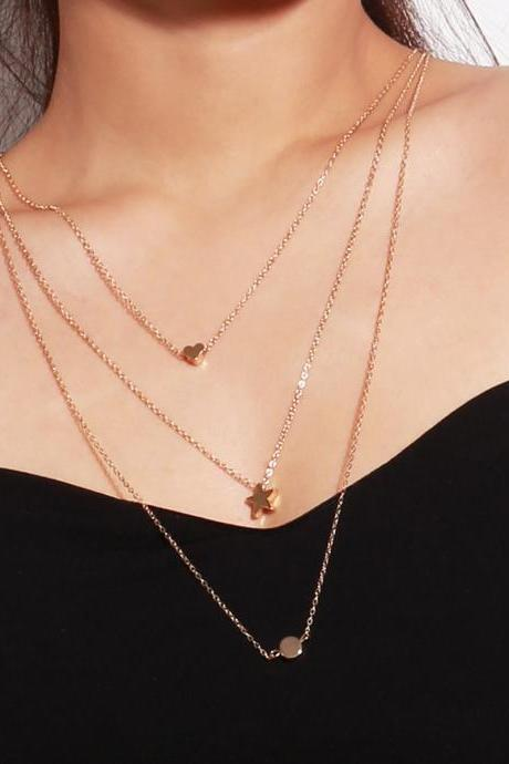 Multi-element Star Heart Multi-layer Collarbone Necklace