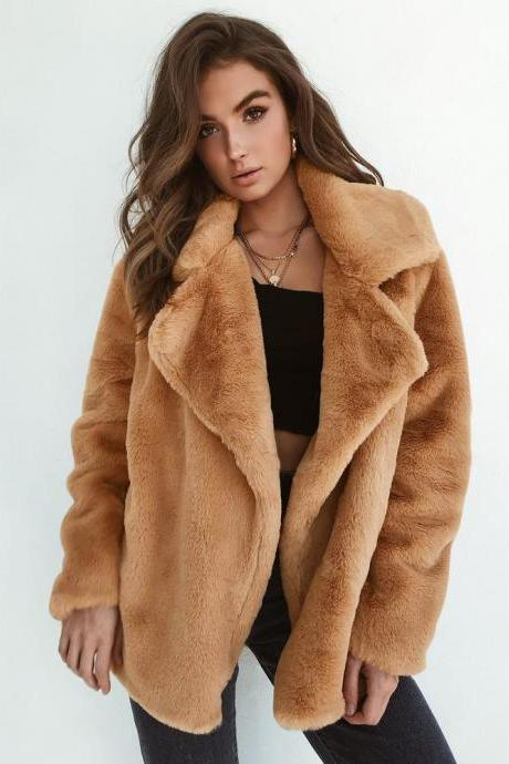 Lapel Collar Open Warm Solid Color Women Winter Short Teddy Coat