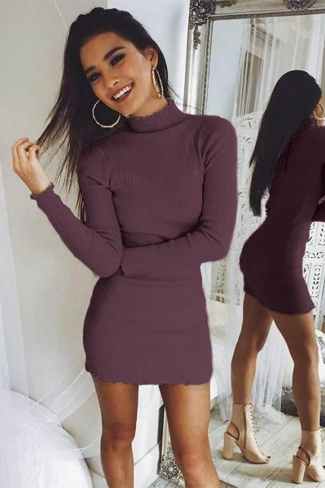 Solid Color Simple Style High Neck Slim Women Oversized Pullover Swaeter Dress