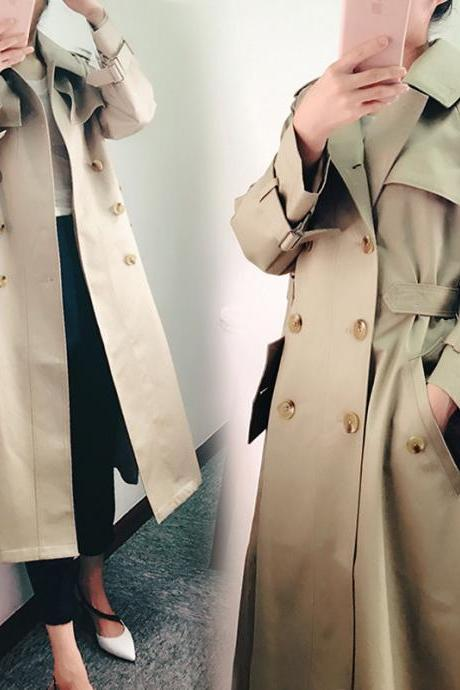 Lapel V-neck Double Breast Slim Oversized Trench Coat