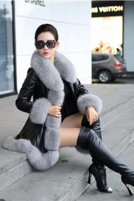 Faux Fur Collar and Cuff Patchwork Oversized Women Coat