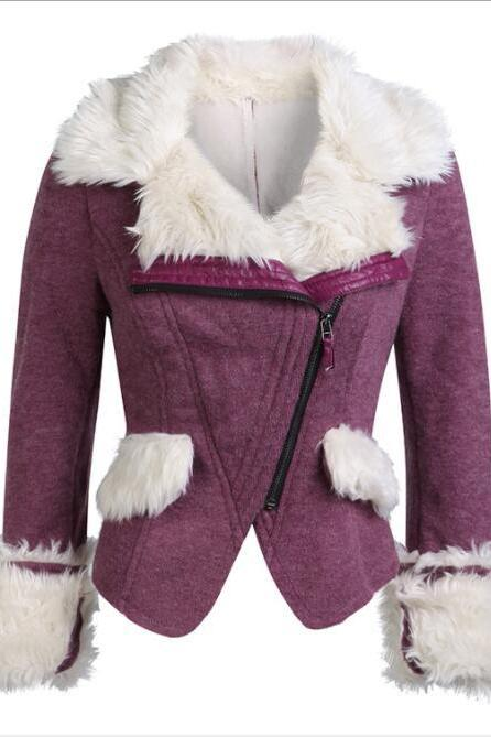 Faux Fur Decorate Oblique Zipper Women Slim Irregular Short Jacket