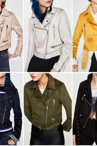 Solid Color Lapel Zipper Women Slim Cropped Short Jacket